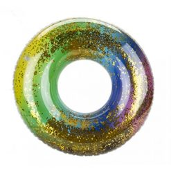 Rainbow Glitter Filled Swim Ring - 50cm
