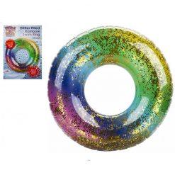 Rainbow Glitter Filled Swim Ring - 60cm