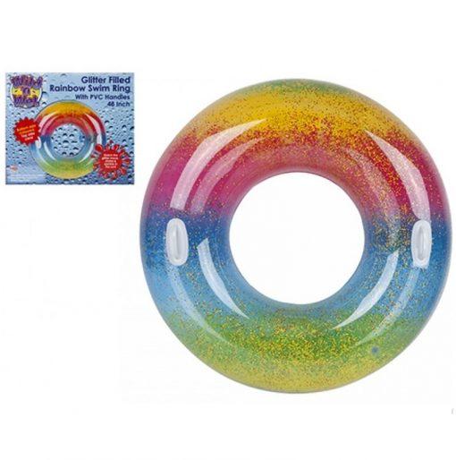 Rainbow Glitter Large Swim Ring with Handles - 122cm