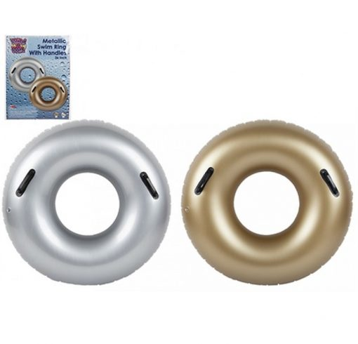 Inflatable Swim Ring with Handles - Gold or Silver - 91cm