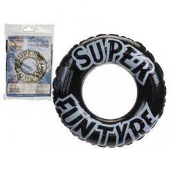 Inflatable Black Tyre Swim Ring - 91cm