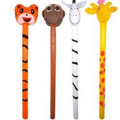 Inflatable Jungle Animal Sticks - Tiger, Zebra, Monkey or Giraffe - 118cm